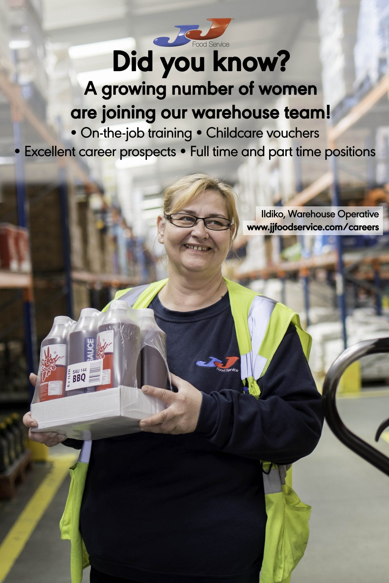 JJ Food Service is promoting warehouse jobs to women to increase its talent pool