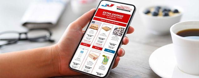 JJ Foods online store on a mobile phone